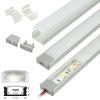Perfil Aluminio Difusor TH-1205 2mt Rect. Plano para Cinta Led