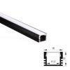 (*) Perfil Aluminio Difusor TH-1103 3mt Rectangular Anodizado Negro