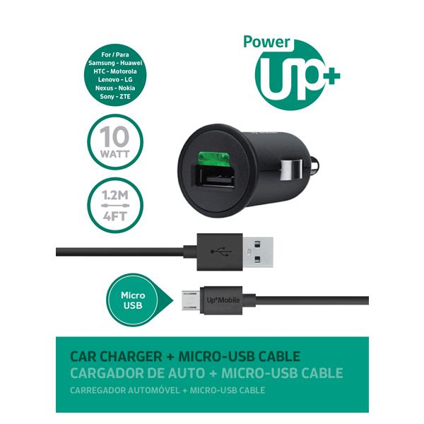 CARGADOR AUTO CON CABLE MICRO USB PowerUP Negro