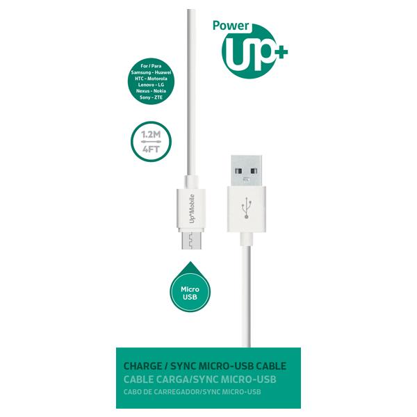 CABLE MICRO USB PowerUp 1,2 mt. - Blanco