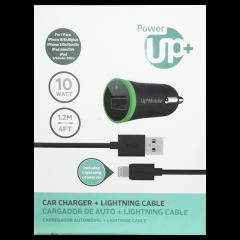 CARGADOR AUTO USB CON CABLE LIGHTNING PowerUP Negro