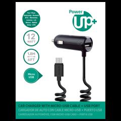 CARGADOR AUTO CON CABLE MICRO USB + USB PowerUP Negro