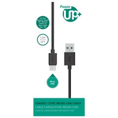 CABLE MICRO USB PowerUp 1,2 mt.  Negro