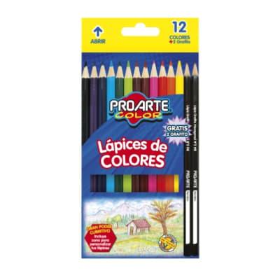 LAPIZ COLOR PROARTE 12 COLORES + 2 GRAFITOS1