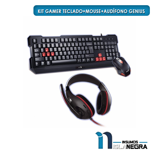KIT GAMER TECLADO+MOUSE+AUDIFONO GENIUS