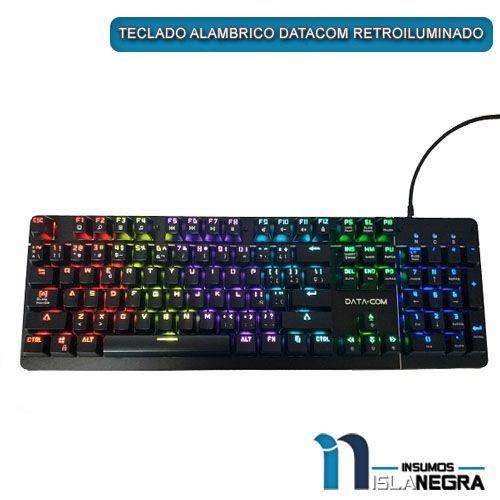 TECLADO ALAMBRICO MECANICO DATACOM RETROILUMINADO