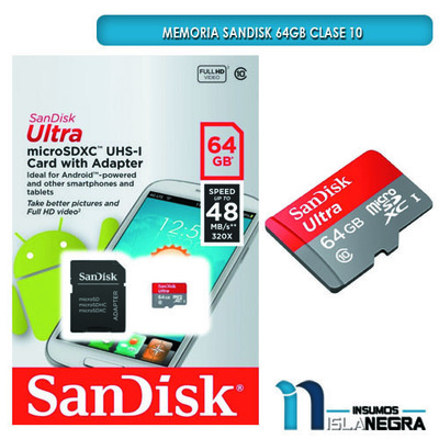 MEMORIA SD SANDISK HD 64GB CLASE 10