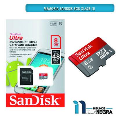 MEMORIA SD SANDISK HD 8GB CLASE 10