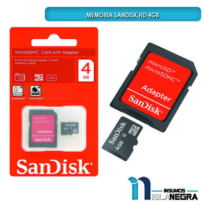 MEMORIA SD SANDISK HD 4GB CLASE 10