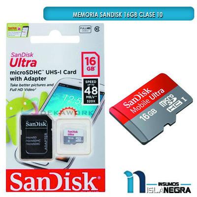 MEMORIA SD SANDISK 16GB CLASE 10