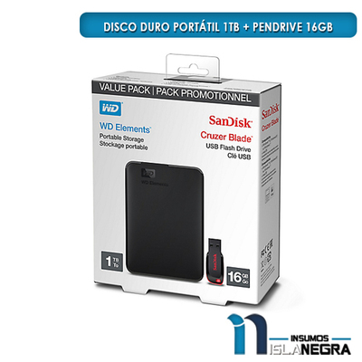 DISCO DURO PORTATIL 1TB + PENDRIVE 16GB