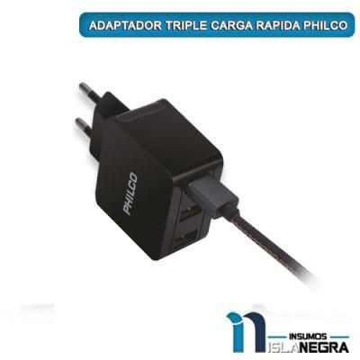 ADAPTADOR TRIPLE CARGA RAPIDA PHILCO