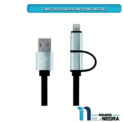 CABLE USB DOBLE ANDROID/IPOD USB PLANO