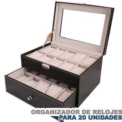 Caja Organizador De 20 Unidades Relojes_Negro