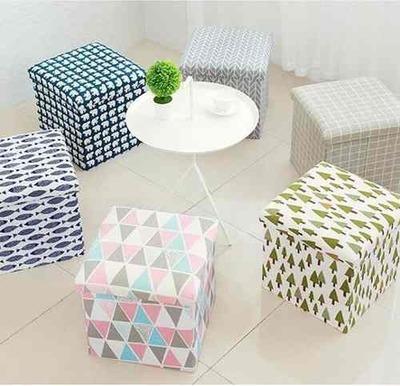 Caja Plegable Organizadora Asiento 38cm Puff Pouf diseño
