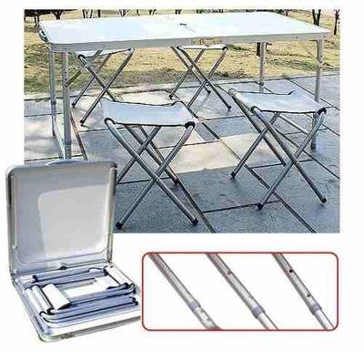 Mesa Camping Plegable Simple 120x60cm + 4 Sillas