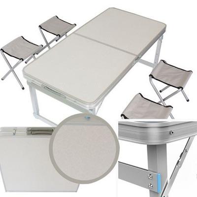 Mesa de camping 120x60 con 4 sillas