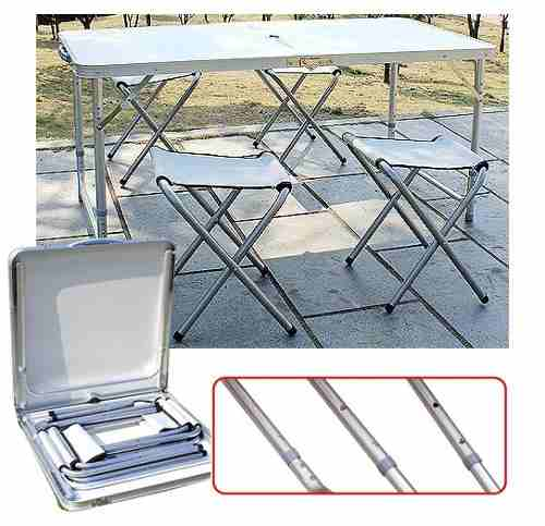 Mesa Plegable De Camping Con 4 Sillas.Mesa Camping Plegable Simple 120x60cm 4 Sillas