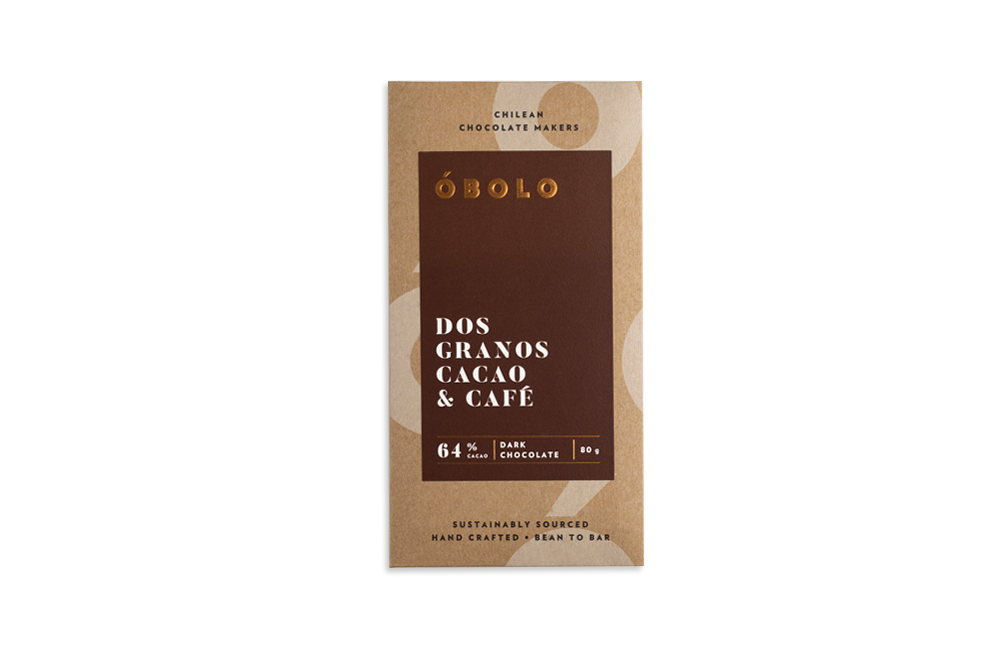 -CHOCOLATE 2 GRANOS CACAO COFFEE ÓBOLO 80 GRS.-