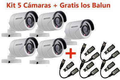 KIT 05 CÁMARAS BULLET HD 720P IR20 MTS IP66 + GRATIS BALUN 01 CANAL