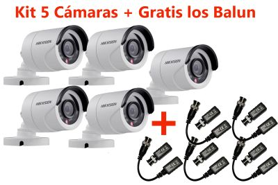 KIT 5 CÁMARAS BULLET 1080P DS-2CE16D0T-IRP + GRATIS BALUN