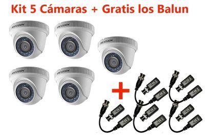 KIT 5 CÁMARAS DOMOS 1080P DS-2CE56D0T-IPF + GRATIS BALUN