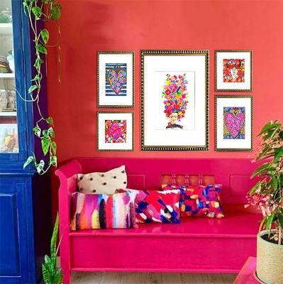 Composición 5 cuadros Frida Mexico