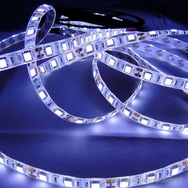 CINTA LED ROLLO 5 MTS 5050 CON SILICONA - BLANCO FRIO (6500K)