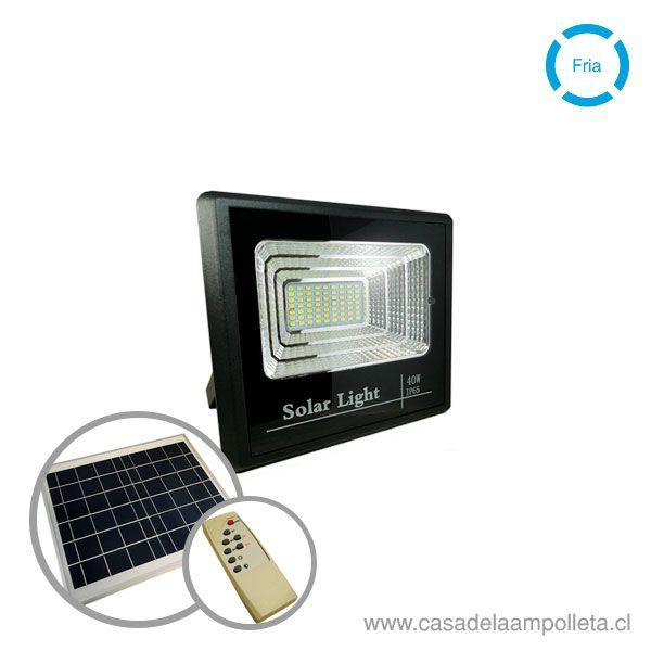 PROYECTOR LED 40W CON PANEL SOLAR Y CONTROL REMOTO - BLANCO FRÍO (6500K)