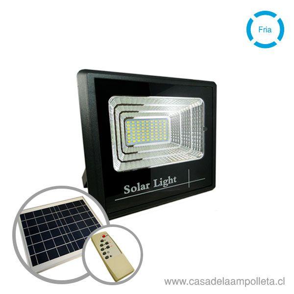 PROYECTOR LED 60W CON PANEL SOLAR Y CONTROL REMOTO - BLANCO FRÍO (6500K)