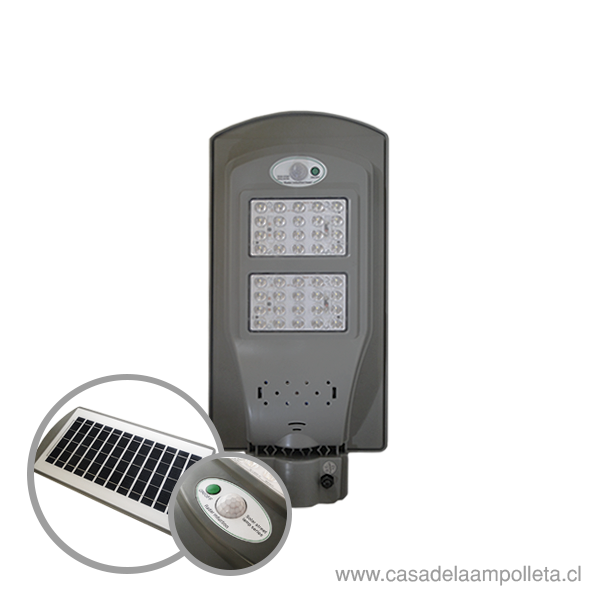 LUMINARIA PÚBLICA LED 40W CON PANEL SOLAR Y SENSOR DE MOVIMIENTO