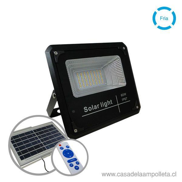 PROYECTOR LED 60W CON PANEL SOLAR Y CONTROL REMOTO (BLANCO FRÍO 6500K) - L.A. POWER