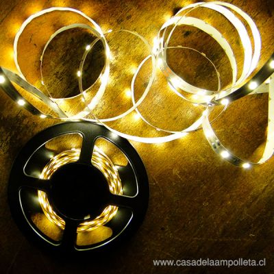 CINTA LED ROLLO 5 MTS 3528 SIN SILICONA - BLANCO CÁLIDO (3000K)