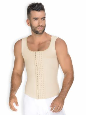 Faja Colombiana Hombre Chaleco Beige Corrector Postura CH-0060 MyD - PaoPink