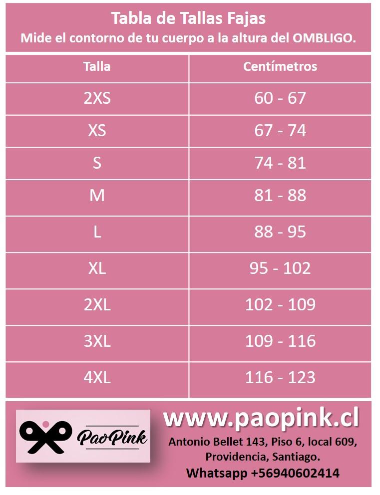 Tabla de Tallas Fajas PaoPink