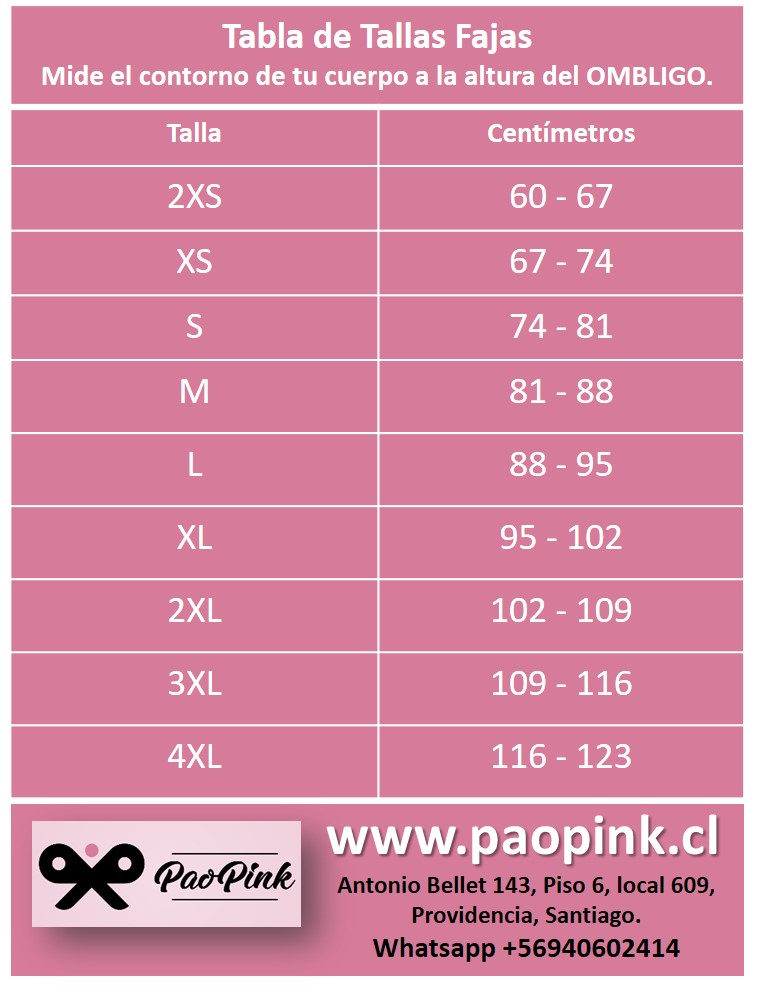 Tabla de Tallas Fajas Colombianas PaoPink