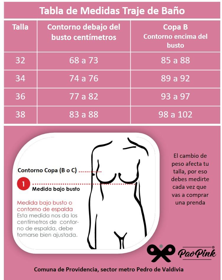 Tabla de Tallas Trajes de Baño Colombianos