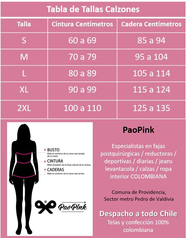 Tabla de Tallas Calzas Colombianas PaoPink