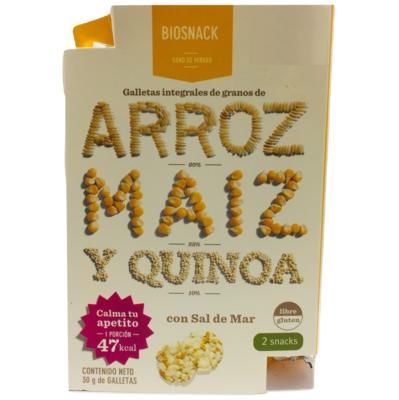 Galletas Arroz Maíz Quinoa Salada Biosnack