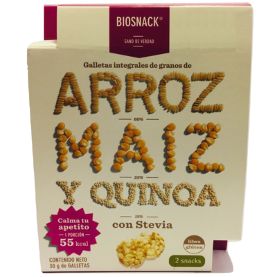 Galletas Arroz Maíz Quinoa Dulce Biosnack