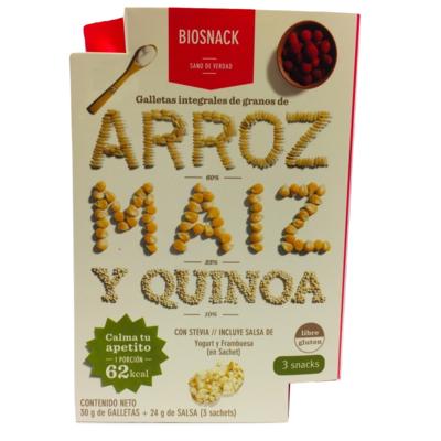 Galletas Arroz Maíz Quinoa con Salsa Frambuesa Biosnack