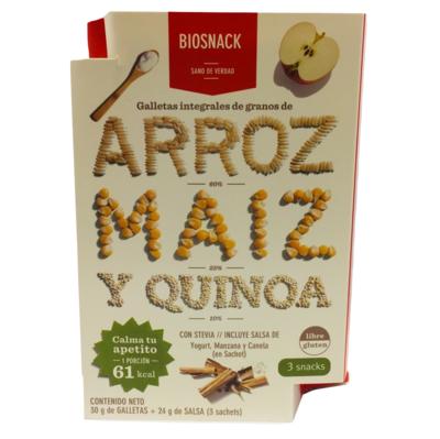 Galletas Arroz Maíz Quinoa con Salsa Manzana Biosnack