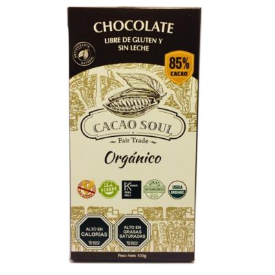 Barra de Chocolate 85% Orgánico Cacao Soul