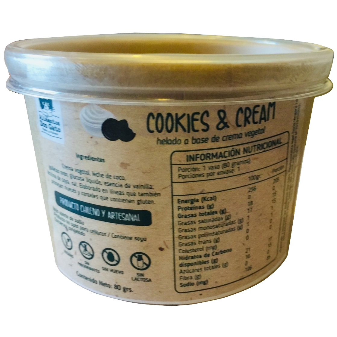 Helado Vegano Cookies and Cream, Alimentos Don Gato