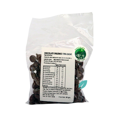Chip chocolate organico 70% cacao 90 grs