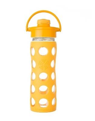 Botella de vidrio con tapa flip y funda de silicona
