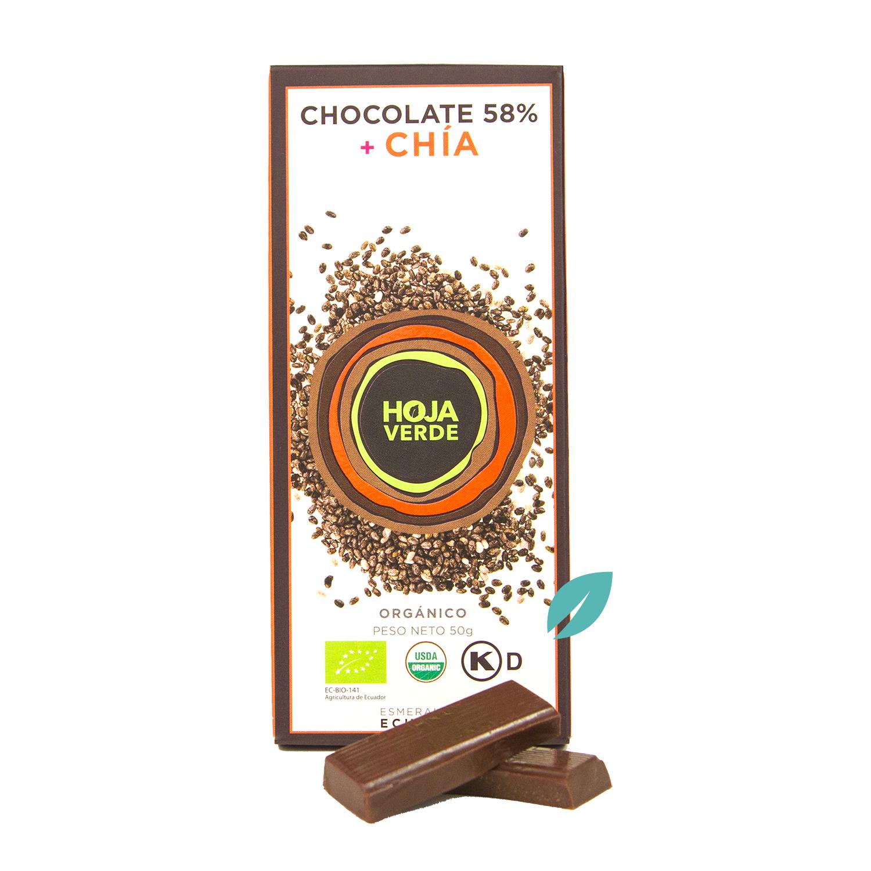 Chocolate organico 58% Cacao ecuatoriano mas Chia