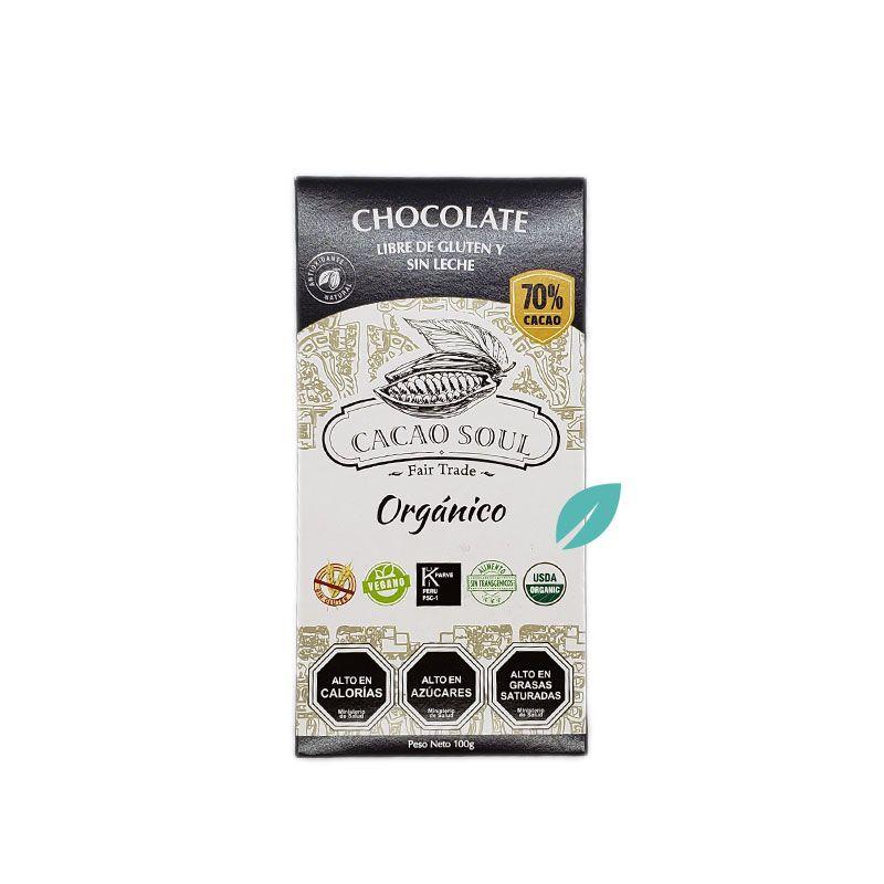 Chocolate en barra 70% cacao Organico 100 grs