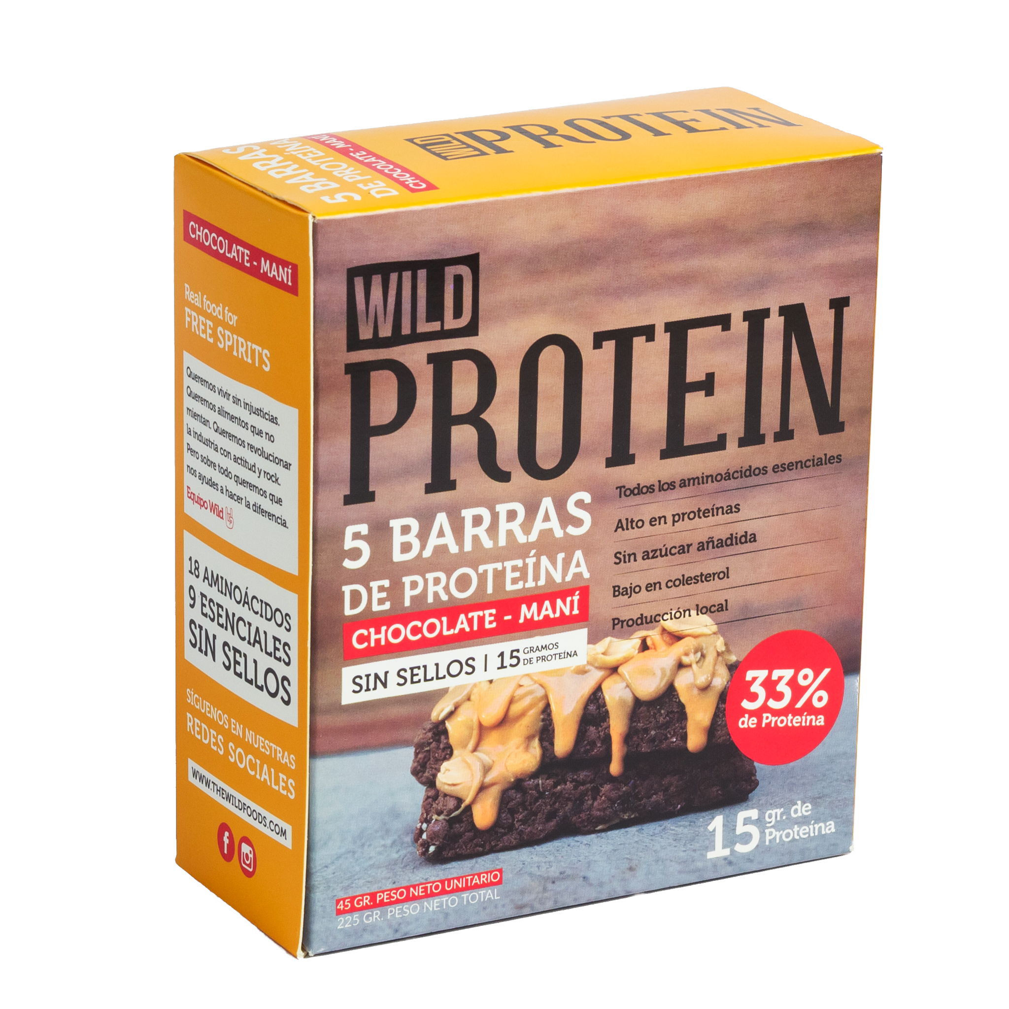 Barra Proteica Wild Protein Chocolate Maní 5 Unidades