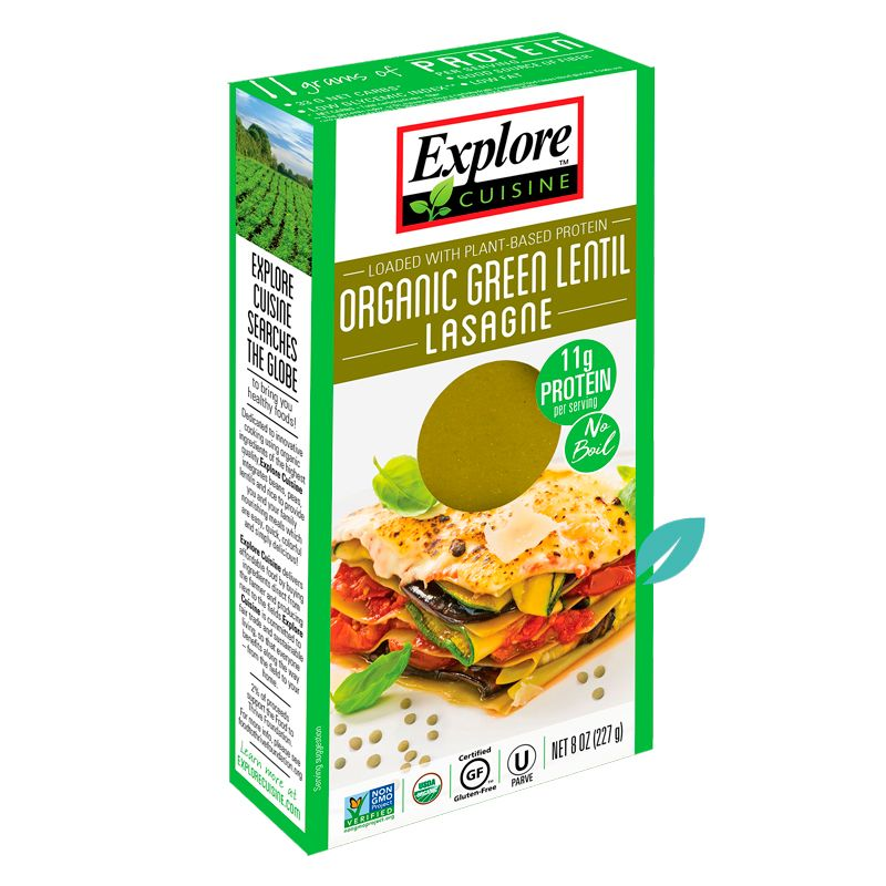 Lasaña Pasta Lentejas Verdes Organicos Explore Cousine 227 grs